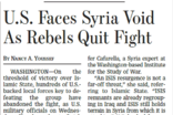 미국, 시리아 반군 전투 중단으로 전력 공백 직면