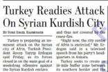 터키, 시리아의 쿠르드족 도시 공격 준비
